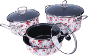 Enamel Casserole with All Flower Decals (LF-A001) pictures & photos