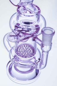 Honeycomb Mini Klein Recycler Glass Smoking Pipe with Barrel Neck pictures & photos