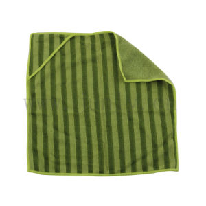 Dark Green Stripes Microfiber Cleaning Cloth Can Be Hung Hand Towels (JL-169)