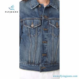 Classic Profile Short Ladies Denim Jean Jacket in Fold-Over Collar and Button Placket pictures & photos