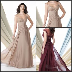 Champange Prom Formal Gown Burgundy Mother of The Bride Evening Dress E3988 pictures & photos