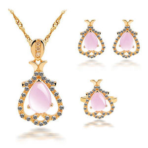 Water Drop Rose Quartz 925 Silver Jewelry Set Gold Plated pictures & photos