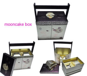Specialty Cardboard Paper Mooncake Box with Wooden Carrier pictures & photos