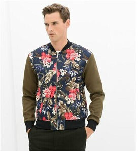 Baseball Clothing Vintage Flower Printed Zipper Men Jacket pictures & photos