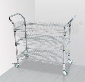 3 Tiers Chrome Metal Wire Storage Shelf SMT Utility Cart Trolley with Upper Handle pictures & photos