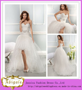Hot Selling White a-Line Sweetheart Lace and Tulle Front Short and Long Back Wedding Dress with Detachable Sash pictures & photos