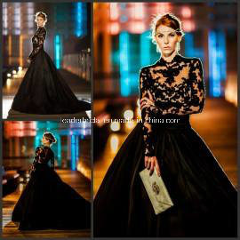 Black Lace Ball Gowns Crew Fashion Satin Wedding Dresses Z8031 pictures & photos
