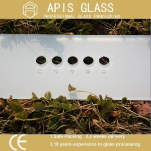 6mm White Back Printing Glass/Ceramic Frit Painted Colored Glass with Holes pictures & photos