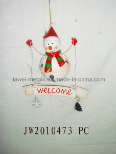 Metal Welcome Snowman Hanging (JW10473)