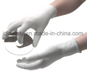 Work Glove with PU Finger Top and PVC Mini Dots (PN8017) pictures & photos