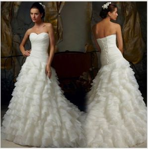 Strapless Layer Tulle Bridal Wedding Gowns (NWD1022) pictures & photos