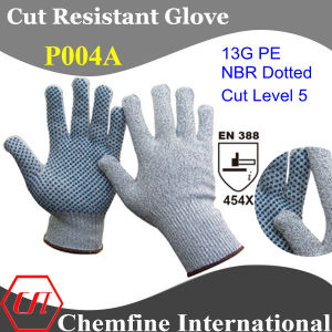 13G PE Knitted Glove with NBR Dotted Palm/ En388: 454X pictures & photos