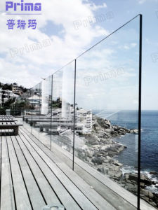 Outdoor Durable Tempered Glass Railing Fixed in Wood Terrace pictures & photos