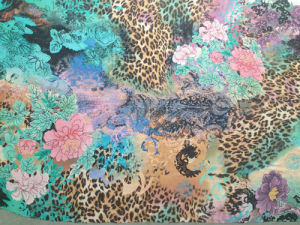 Silk Georgett Printed in Flower Animal Skin Pattern