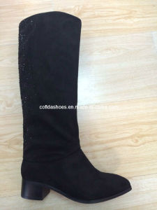 OEM Hot-Sale Low Heels Lady Fashion PU Boots pictures & photos