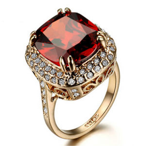 Euramerican Stylish 18k Rose Gold Beauty Ruby Crystal Rings