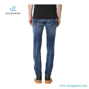 Distressed Skinny Wash Cool Guy Men Denim Jeans with Frayed Holes and Speckles of Paint (Pants E. P. 4128) pictures & photos