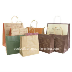 Recycle Brown Kraft Paper Gift Bag with Twisted Handle Cake Packing Carrier Bag pictures & photos