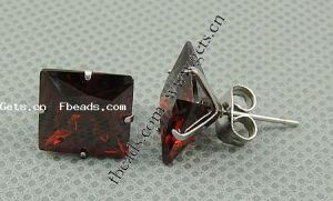 Stainless Steel Cubic Zirconia Stud Earring, More Colors for Choice