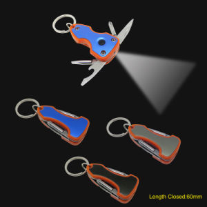 Multi Function Key Chain Tools with LED Torch (#668-ORG) pictures & photos