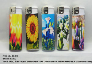 Electronic Disposable Gas Lighter With Wrap Shrink Film Picture (BD-818) pictures & photos