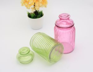 Colours Glass Food Storage Jar with Glass Lid pictures & photos