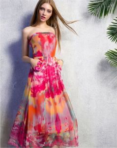 Sexy Chest Wrapped Printing Long Dress pictures & photos