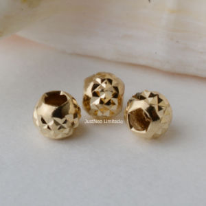 18 Karat Gold Spacer Beads, Round Seamless Loose Beads, Gold Jewelry Components Findings