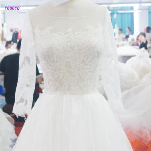 Lace Bodice A Line Wedding Dress with Transparent Lace Long Sleeves pictures & photos