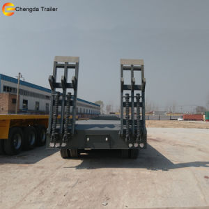 3 Axle 60 Ton Low Bed Flatbed Trailer for Sale pictures & photos