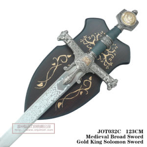 Medieval Broad Sword Silver King Solomon Sword with Plaque 123cm Jot032c pictures & photos