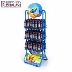 Multi-Layer Floor Iron Metal Beverage Display Stand with Poster pictures & photos
