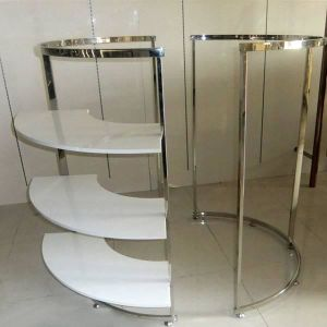 Round Tubing Rail Brushed Stainless Steel Garment Display Stand pictures & photos