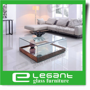 Curved Glass Center Table with Walnut Wood Veneer Base pictures & photos