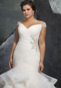 Cap Sleeves Bridal Dress Pleated Organza Mermaid Wedding Gown Lb3237 pictures & photos