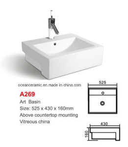 A269 Semi-Recessed Bathroom Basin, Art Basin Above Counter Mounting pictures & photos