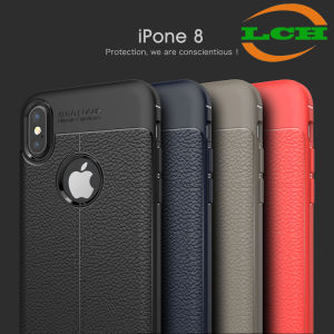 Shockproof Lichee Pattern Soft Leather Case for iPhone X pictures & photos