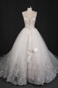Embroidery V Back Applique Beads Ball Bridal Gowns Wedding Dress Qh66006 pictures & photos