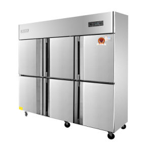 Double Temperature Six Swing Doors Kitchen Refrigerator with Universal Casters pictures & photos