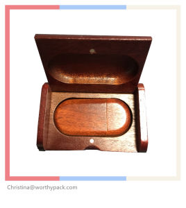 Wooden Gift Box with Lid for USB Packaging