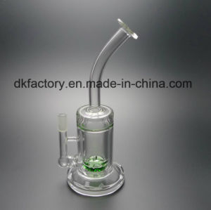 Latest Glass Smoking Water Pipes for Tobacco with Green (D&K6009) pictures & photos
