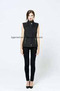 Fashionable Style Winter Slim Fit Leather Vest Zipper Black Waistcoat pictures & photos