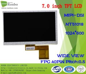 "7.0"" 1024X600 Mipi 40pin 250CD/M2 Portable Device TFT LCD Screen pictures & photos"
