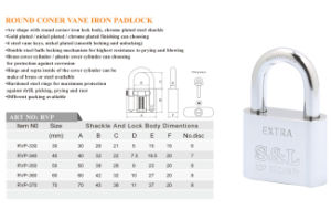 Factory Wholesale Round Coner Chrome Plated Vane Key Iron Padlock pictures & photos