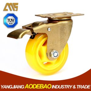 Light Duty Golden Plating Brake PVC Caster Wheel