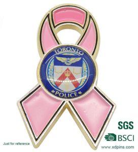 Custom Metal Enamel Cancer Pink Ribbon Lapel Pin pictures & photos