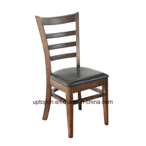 (SP-EC162) Dining Restaurant Furniture Ladder Back Wood Chair Leather pictures & photos