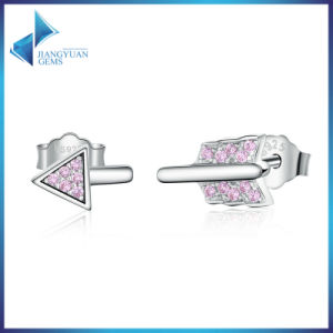 100% 925 Sterling Silver Arrow Shape Forever Love & Pink CZ Stud Earrings pictures & photos