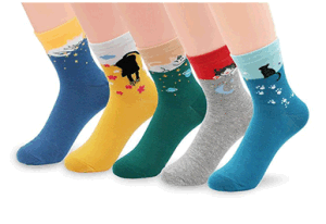 Custom Fashionable Cute Cat Jacquard Sock in Various Designs and Sizes pictures & photos