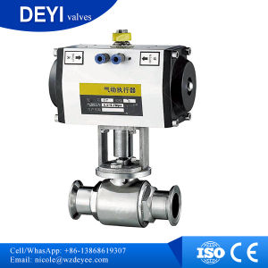 Stainless Steel Hygienic Three-Piece Ball Valves with Actuator Pneumatic pictures & photos
